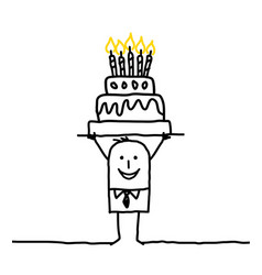 Cartoon business man with birthday cake vector