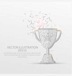 champion trophy low poly wire frame on white vector image