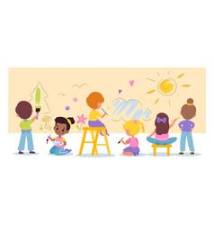 children art funny cartoon kids draw doodles vector image
