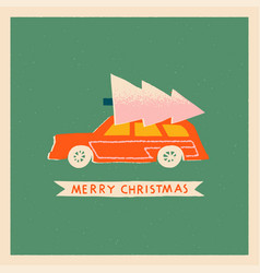 Christmas card with retro car and christmas tree vector