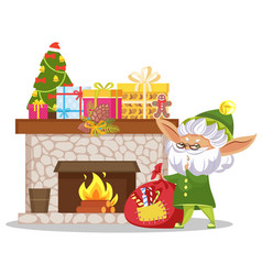 christmas elf with presents near fireplace vector image