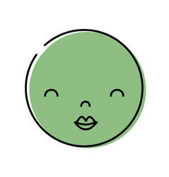 Color kawaii head with cute beauty face vector