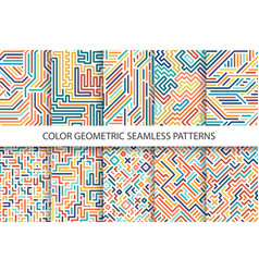 Colorful striped seamless patterns vector