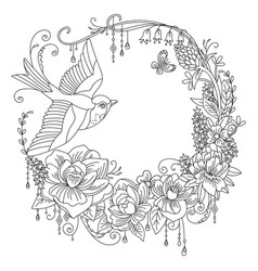 coloring flowers and birds 2 vector image