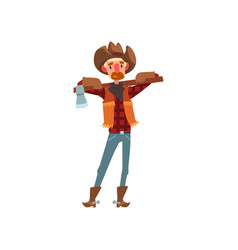 cowboy in traditional clothes standing with axe vector image