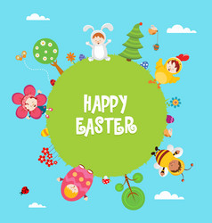 cute easter card with kids wearing costumes vector image