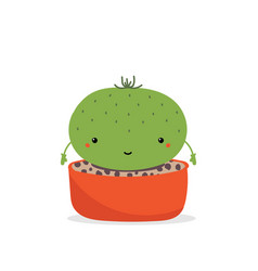 Cute little cartoon cactus character in pot vector