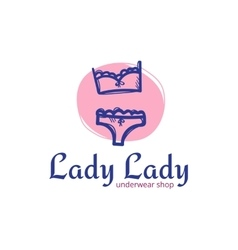cute woman underwear logo in doodle sketchy vector image