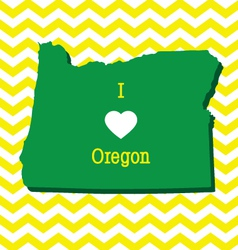 Cute yellow chevron I love Oregon card vector image