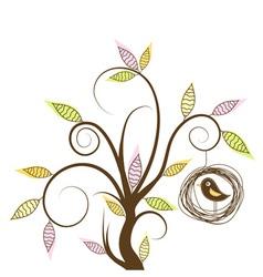 Decorative Tree and bird vector image