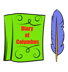 Diary of columbus with feather icon icon cartoon vector