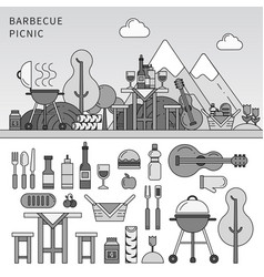 different equipment for picnic line monochrome vector image