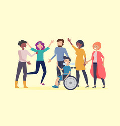 Disability day poster happy disabled man vector