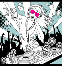 disc jockey girl with a dj mixer and people vector image