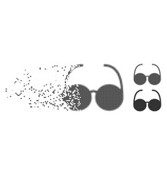Disintegrating pixel halftone sun glasses icon vector