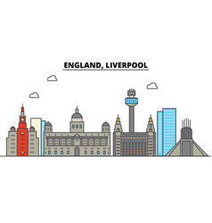 england liverpool city skyline architecture vector image