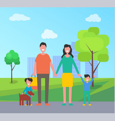 Family in city park people vector