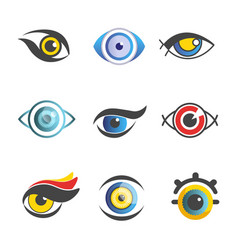 Fantastic eyes of unusual color and shape set vector