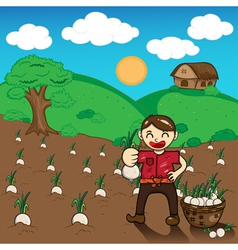 Farmer and onion plants a harvest cartoon vector image