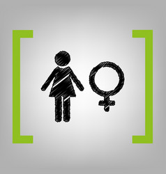 female sign black scribble vector image