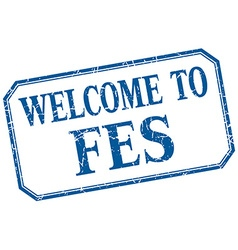 Fes - welcome blue vintage isolated label vector