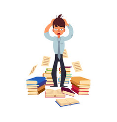 Flat stressed exhausted man with books vector