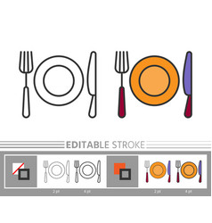 Flatware cutlery linear icon coloring page vector