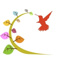 floral and bird vector image