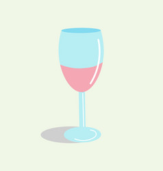 Glass wine with wine in a flat style vector