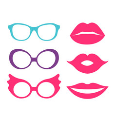 Glasses and lips collection vector