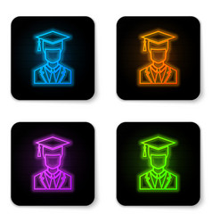 glowing neon male graduate student profile with vector image