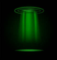 Green rays light from circle ufo spaceship vector
