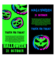 halloween party flyer set halloween night party vector image