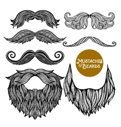 Hand Drawn Decorative Beard And Mustache Set vector image
