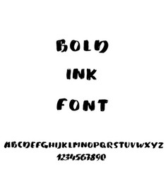 Hand drawn font made by brush strokes modern vector