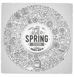 Hand drawn set spring cartoon doodle vector