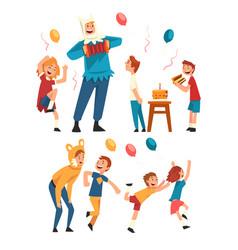 Happy children having fun with animator at vector
