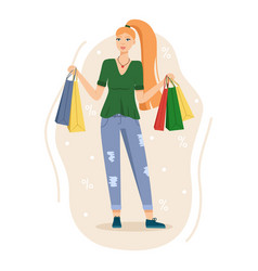 happy woman shopping smiling girl after vector image