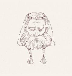 head of nordic warrior with beard braids hand vector image
