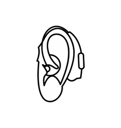 Hearing aid icon outline style vector