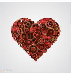 Heart made of metal cogwheel vector