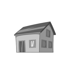 House with attic icon black monochrome style vector