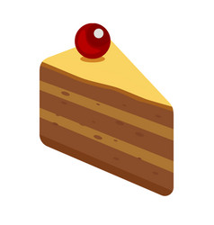 icon with piece of cake isolated on white vector image