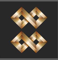 infinity brass logo 3d shape sharp-angled shiny vector image