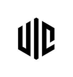 initial letter uic hexagonal logo design vector image