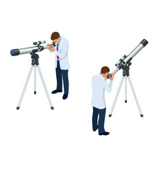 isometric astronomer through the telescope looks vector image