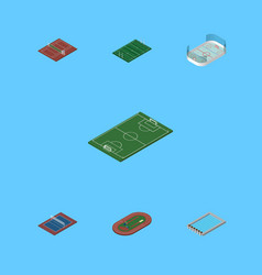 Isometric competition set of run stadium american vector