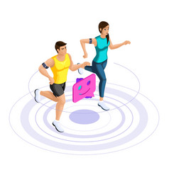Isometric girl and man run jump couple on a run vector