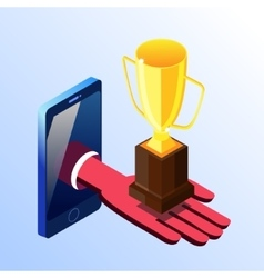 Isometric smartphone showing hand with prize cup vector image