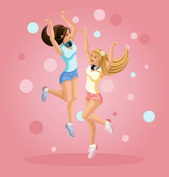 Isometrics young girls are happy jumping having vector